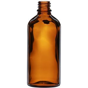 100 ml Amber Glass Dropper Bottle 18 mm Neck Finish-Front View