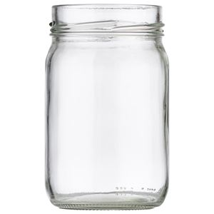 12 oz Clear Glass Jar 70-2035 Lug Neck Finish-Front View