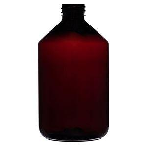 16 oz Amber PET Bottle 28-410 Neck Finish-Front View