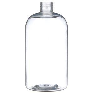 16 oz Clear PET Boston Round Bottle 24-410 Neck Finish-Front View