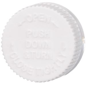 28-400 White PP Child Resistant Push and Turn Closure, F217 Foam Liner