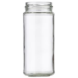 8 oz Clear Glass Jar 53-2020 Lug Neck Finish-Front View