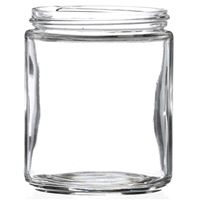 8 oz Clear Glass Straight Sided Jar 70 mm Lug Neck Finish-Front View