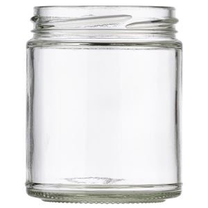9 oz Clear Glass Jar 70-2030 Lug Neck Finish-Front View